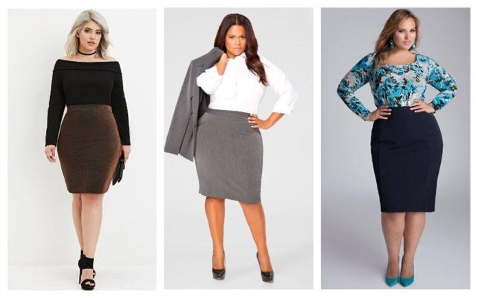 Строгие модели юбки-карандаш для полных женщин