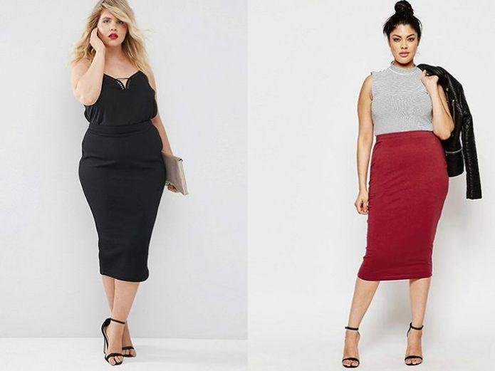 Офисные модели юбки-карандаш для полных женщин