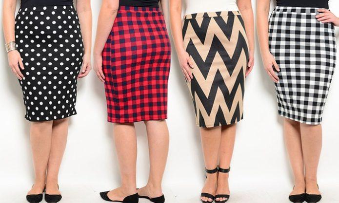 Модели юбки-карандаш для полных женщин с разной текстурой