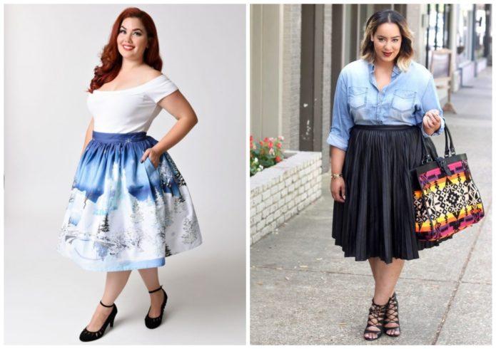 Модели юбки-солнце для полных женщин