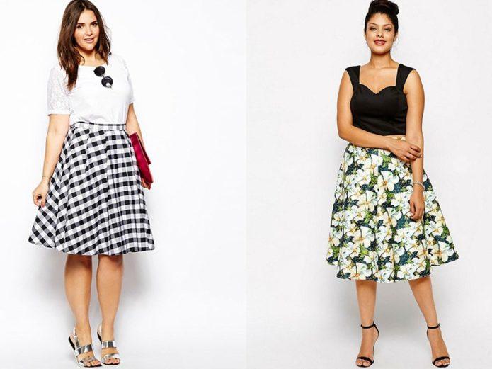 Модели юбки-солнце для полных женщин с разными принтами
