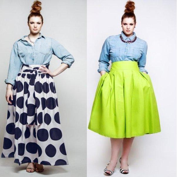 Летние модели юбки-солнце для полных женщин