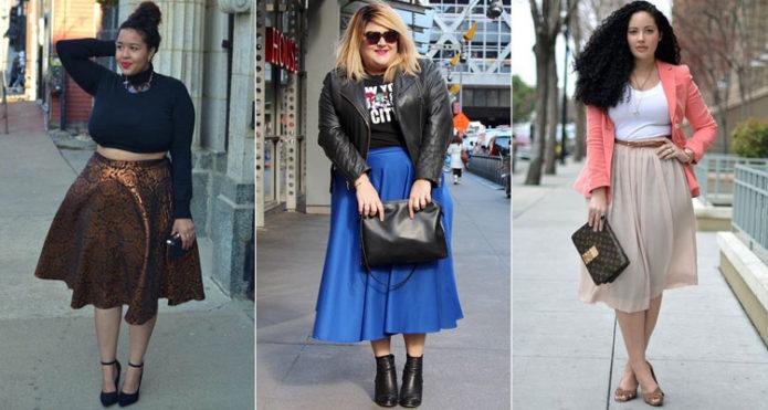 Модели юбки-солнце для полных женщин средней длины
