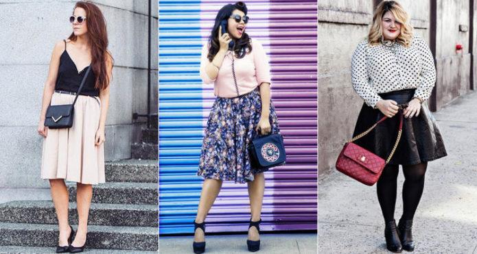 Модели юбки-солнце для полных женщин длиной по колено