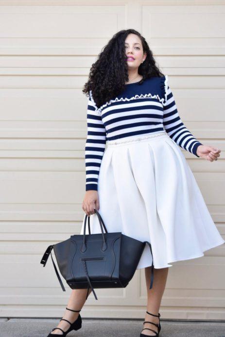 Белая юбка-солнце для полной женщины