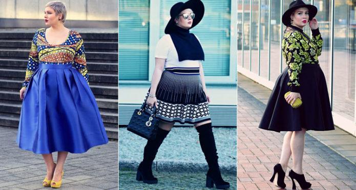 Синие модели юбки-солнце для полных женщин