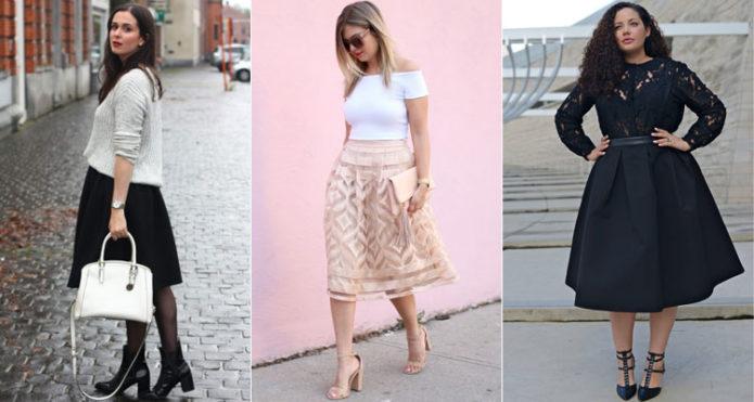 Темные и светлые модели юбки-солнце для полных женщин