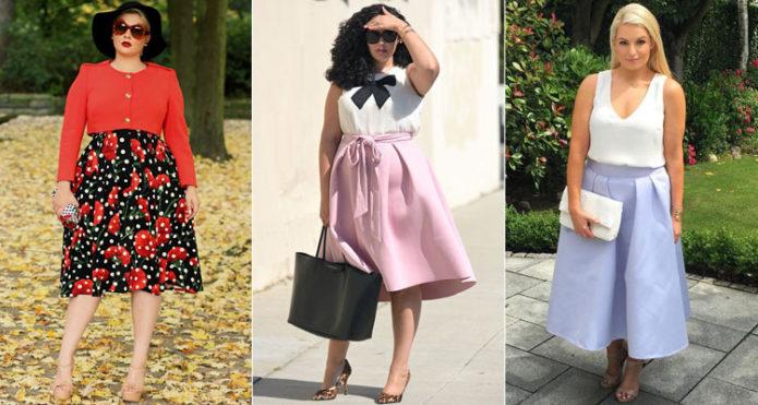 Летние модели юбки-солнце для полных женщин: яркие и пастельных тонов