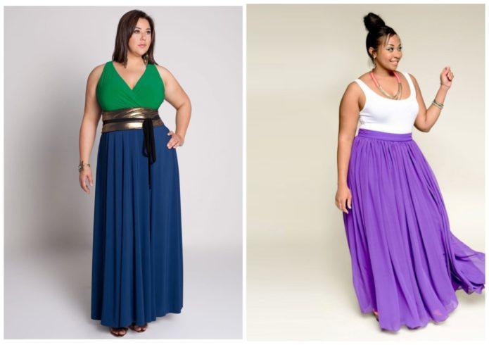 Синяя и сиреневая модели юбки в пол для полных женщин