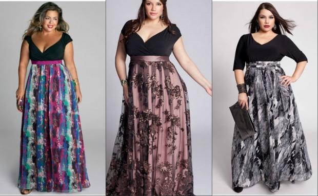 Модели юбки в пол для полных женщин с разными принтами