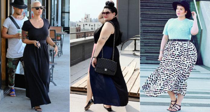 Черные и черно-белая модели юбки в пол для полных женщин