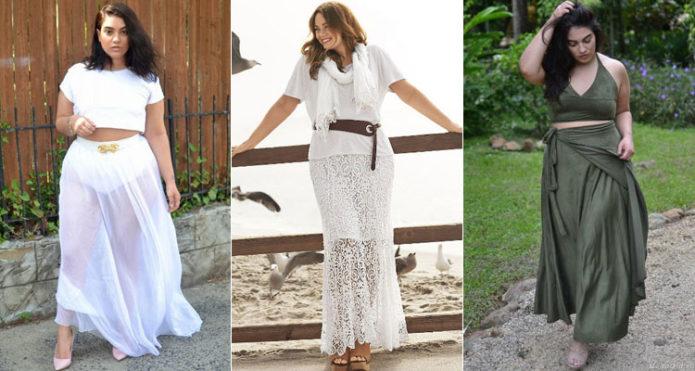 Белые и серо-зеленая модели юбки в пол для полных женщин