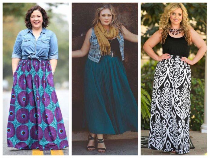 Яркие модели юбки в пол для полных женщин