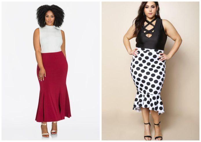 Модели юбки-годе для полных женщин