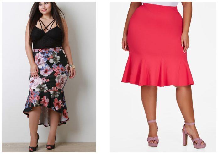 Летние модели юбки-годе для полных женщин