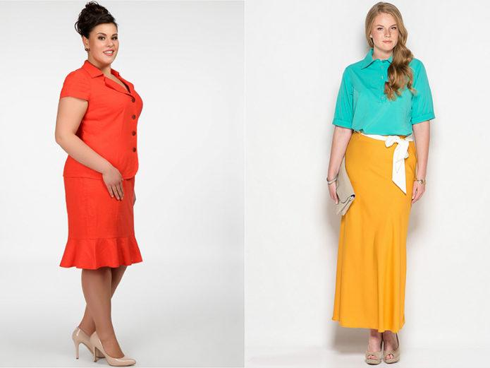 Модели юбки-годе для полных женщин цитрусовых оттенков