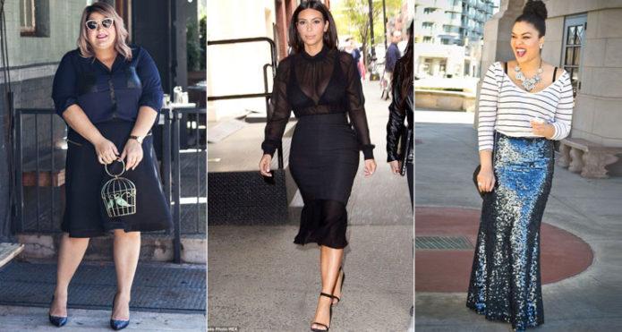 Темные модели юбки-годе для полных женщин