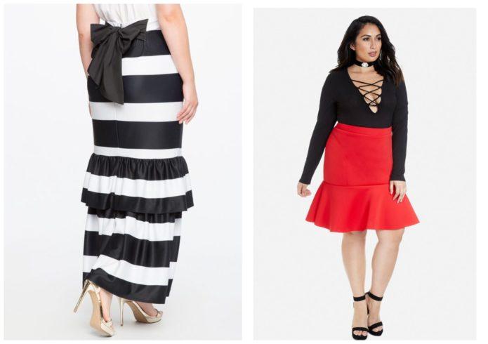 Модели юбки-годе для полных женщин: алая и в черно-белую полосу