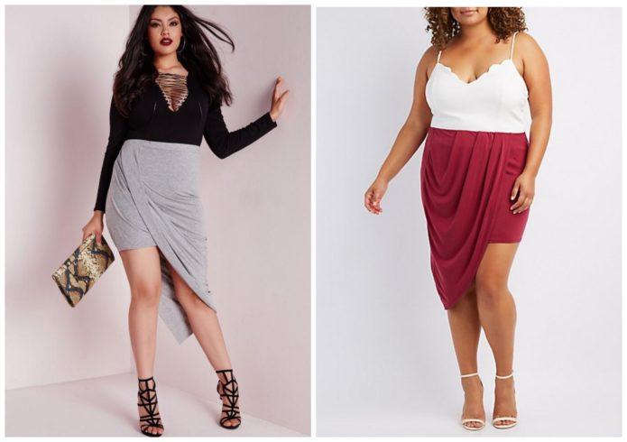 Однотонные модели юбки с драпировкой для полных женщин