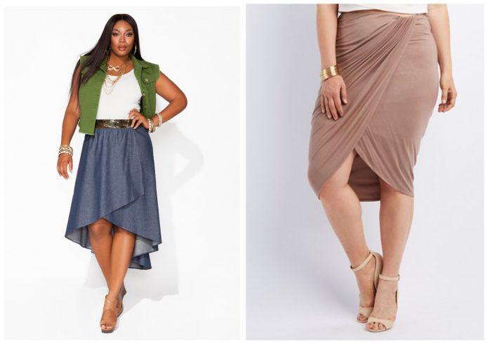 Модели юбки с драпировкой для полных женщин спокойных оттенков