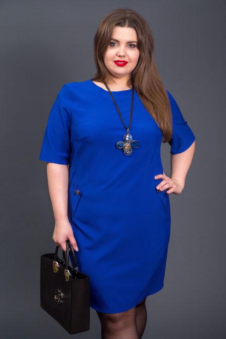 Ярко-синее деловое платье для полной женщины