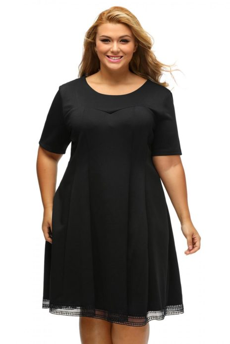 Деловое платье с завышенной талией для полной женщины