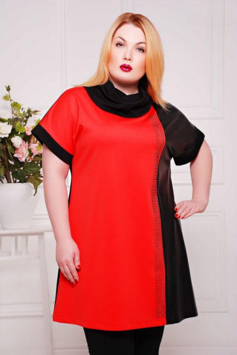 Красно-черная туника для полной женщины