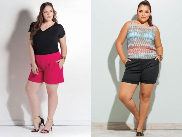 Контрастные с топами летние шорты для полных женщин
