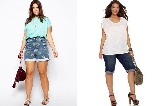 Летние шорты с отворотами для полных женщины