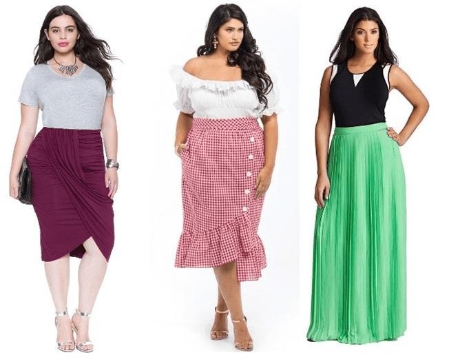 Самые разные модели юбки с драпировкой для полных женщин