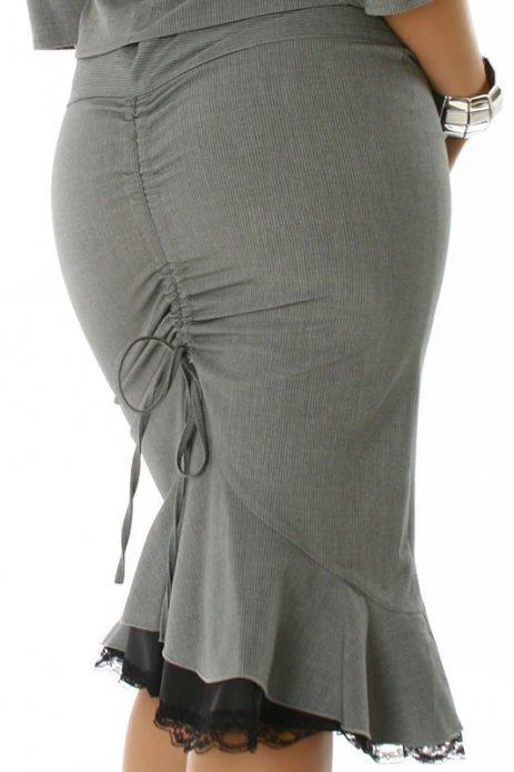 Серая юбки для полной женщины с драпировкой сзади
