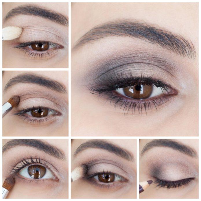 серо-коричневый макияж