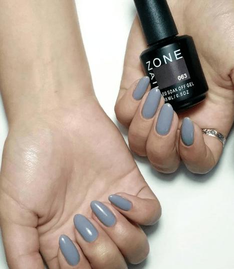 Серый маникюр на овальные ногти