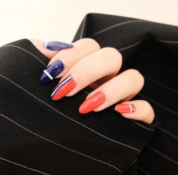 Сине-оранжевый маникюр на длинные ногти