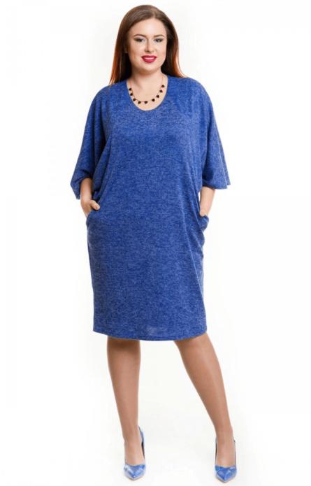 Синее деловое платье для полной женщины