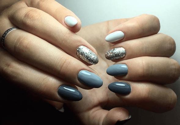 Светло и темно-серый, серебряный и белый цвета в маникюре