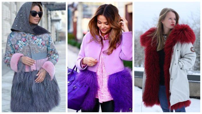 Девушки в пальто с мехом под ламу