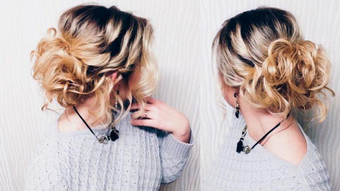 Причёска ложный пучок