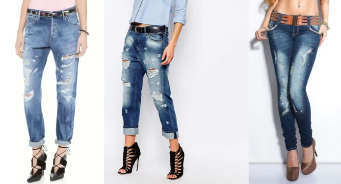 Рваные синие джинсы