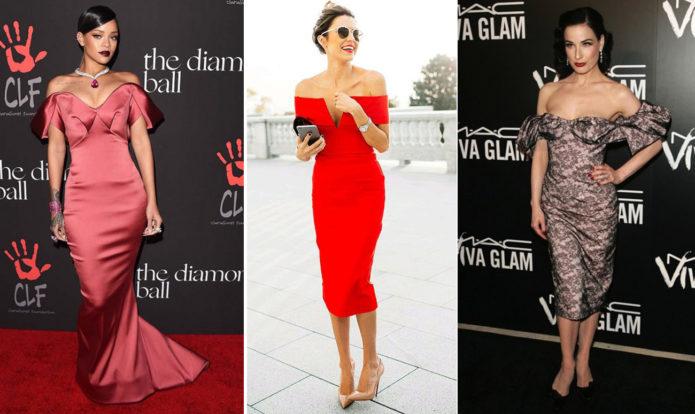 Знаменитости в платьях с открытыми плечами