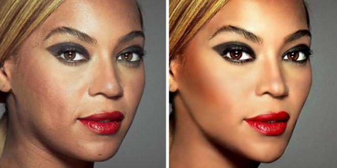 Бейонсе до и после фотошопа