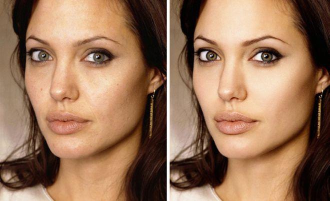 Анджелина Джоли до и после фотошопа