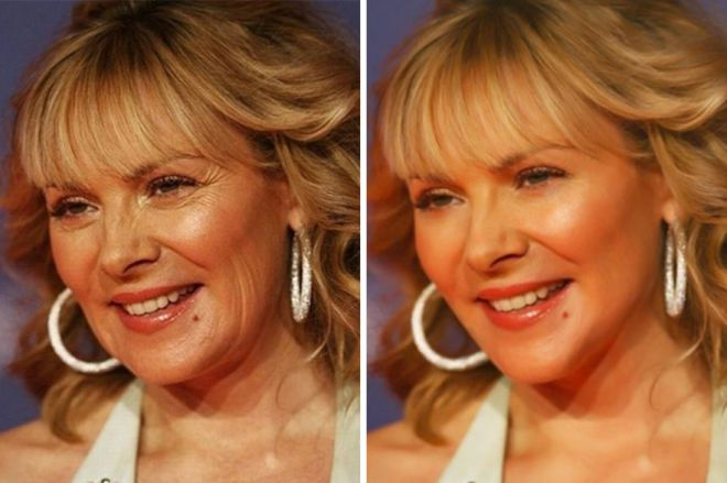 Ким Кэттролл до и после фотошопа