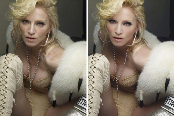 Мадонна до и после фотошопа
