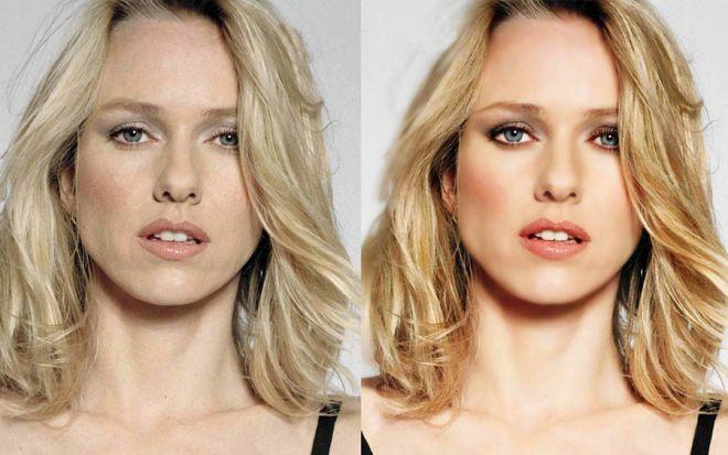 Наоми Уоттс до и после фотошопа