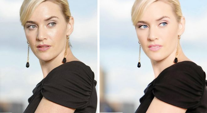 Кейт Уинслет до и после фотошопа