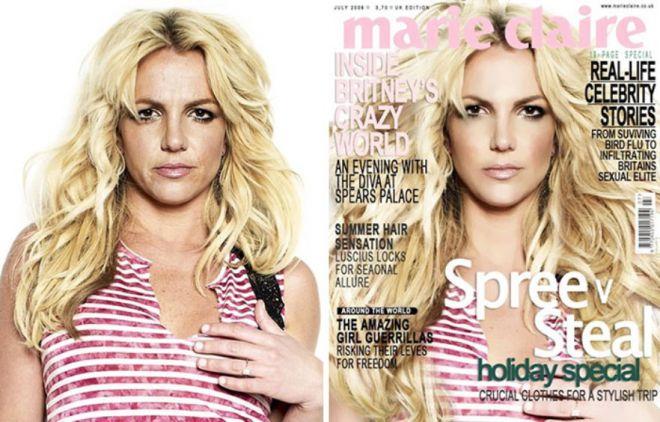 Бритни Спирс до и после фотошопа