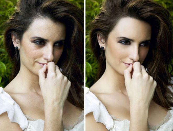 Пенелопа Крус до и после фотошопа