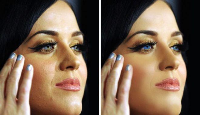 Кэти Перри до и после фотошопа