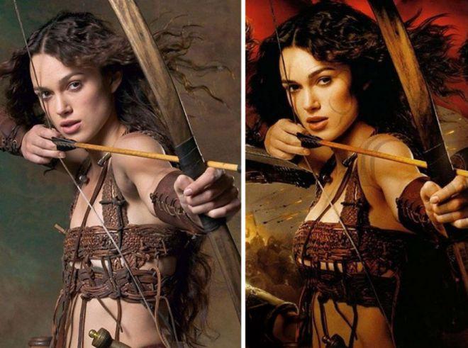 Кира Найтли до и после фотошопа